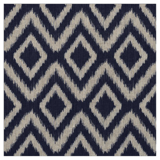 Navy Blue Tribal Ikat Chevron Fabric