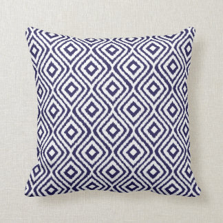 Navy Blue Tribal Ikat Diamond Pattern Throw Pillow