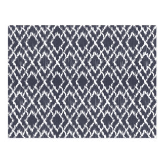 Navy Blue Tribal Print Ikat Geo Diamond Pattern Postcard