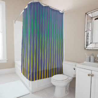 Navy Blue, Turquoise, Yellow (gradient) Stripes Shower Curtain