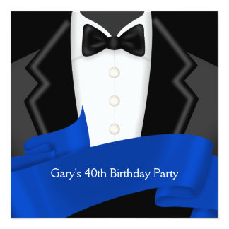 Navy Blue Tuxedo Mans 40th Birthday Party Card