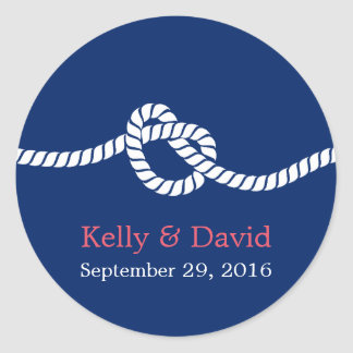 Navy Blue Tying the Knot Nautical Wedding Favor Round Sticker