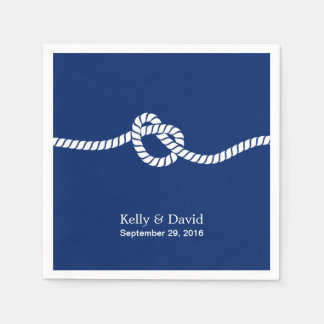Navy Blue Tying the Knot Nautical Wedding Paper Serviettes