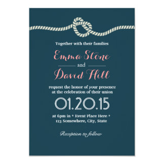 "Navy Blue Tying the Knot Wedding Invitations 5"" X 7"" Invitation Card"