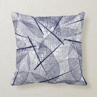 Navy Blue Vein Leaf Design Throw Pillow