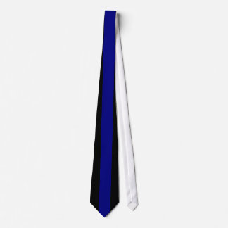 Navy Blue Vertical Stripe on Black Tie