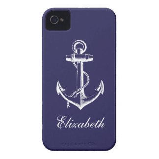 Navy Blue Vintage Anchor Custom Monogram iPhone 4 Case-Mate Cases