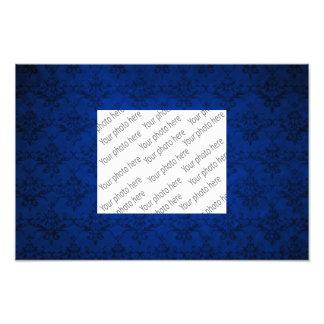 Navy blue vintage damask pattern art photo