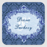 Navy Blue Vintage Damask Wedding C434 Square Stickers