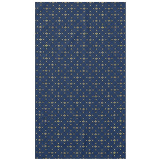 Navy Blue Vintage Fleur de Lis Motif Tablecloth