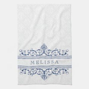 Navy Blue Vintage Floral Swirls Frame Tea Towel