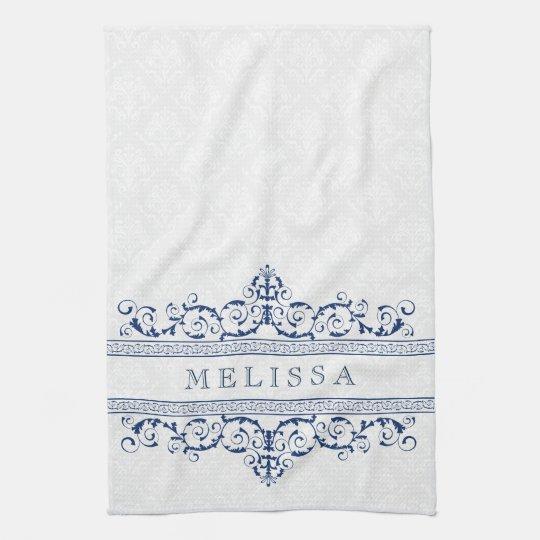 navy blue vintage floral swirls frame tea towel zazzle co uk