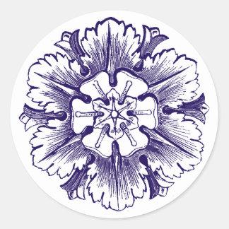 Navy Blue Vintage Flourish Envelope Seals Round Sticker