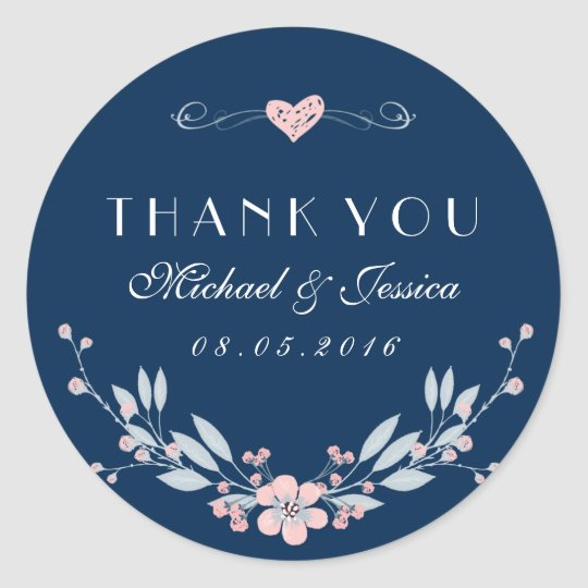 Navy Blue Vintage Flower Wedding Sticker with Love