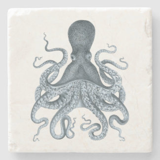Navy Blue Vintage Octopus Illustration Stone Coaster
