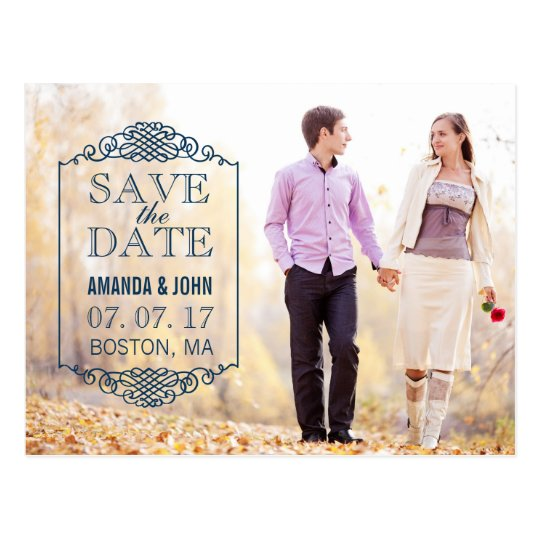 NAVY BLUE VINTAGE PHOTO SAVE THE DATE POSTCARD