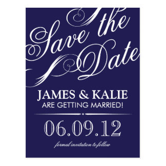 Navy Blue Vintage Script Save the Date Postcard