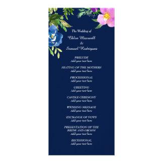 Navy Blue Violet Wedding Program Rack Card