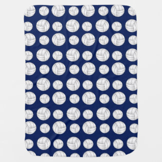 Navy blue volleyball pattern baby blanket