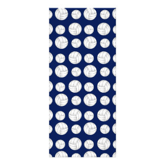 Navy blue volleyball pattern rack card template