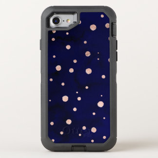 Navy blue watercolor chic rose gold polka dots OtterBox defender iPhone 8/7 case