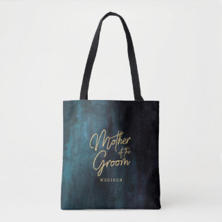 Navy Blue Watercolor & Gold Mother of the Groom Tote Bag
