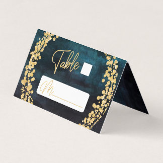 Navy Blue Watercolor & Gold Seating Table Number Place Card