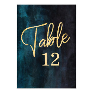 Navy Blue Watercolor & Gold Table Number Seating