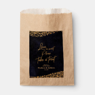 Navy Blue Watercolor & Gold Wedding Love is Sweet Favour Bags