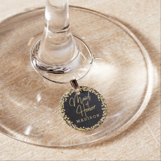 Navy Blue Watercolor & Gold Wedding Maid of Honor Wine Charm