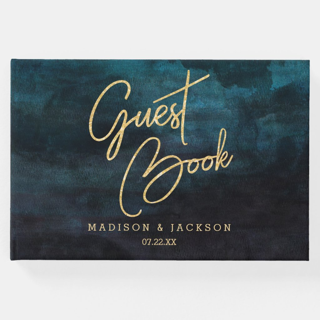 Navy Blue Watercolor & Gold Wedding Monogram Guest Book