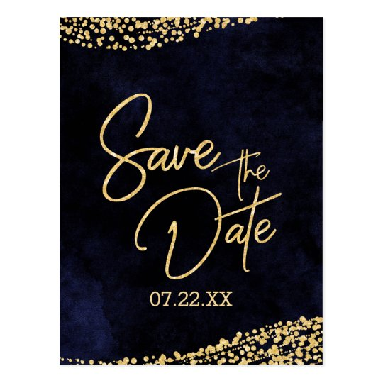 Navy Blue Watercolor & Gold Wedding Save the