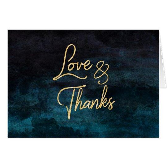 Navy Blue Watercolor & Gold Wedding Thank You