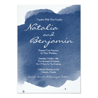 Navy Blue Watercolor Romantic Wedding Invitation
