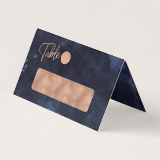Navy Blue Watercolor & Rose Gold Table Number Place Card