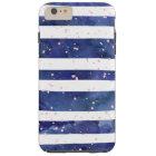 Navy blue watercolor stripes trendy pink confetti tough iPhone 6 plus case