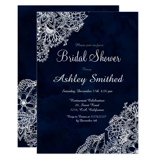 Navy blue watercolor winter floral Bridal shower Card