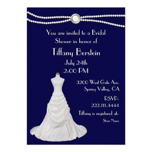 Navy Blue Wedding Dress Bridal Shower Invitation