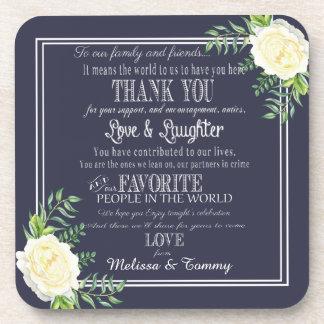 Navy blue Wedding favors Thank you coaster