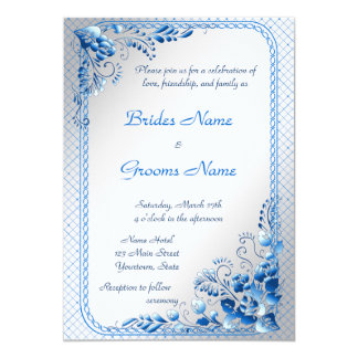 "Navy Blue  Wedding Invitation on styled silver 5"" X 7"" Invitation Card"