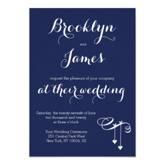 Navy Blue Wedding Invitations Hearts