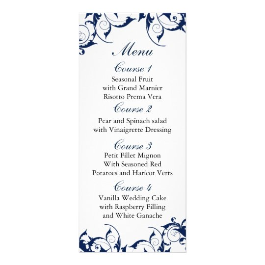 navy blue Wedding menu