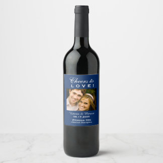 Navy Blue Wedding Photo Wine Bottle Favour Wine Label