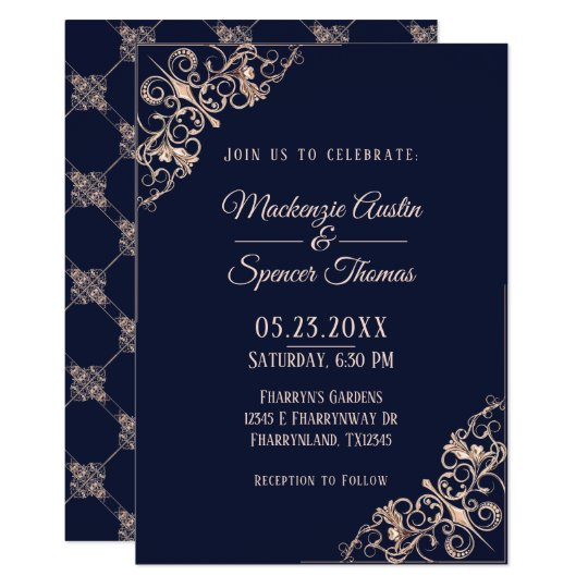 Navy Blue Wedding | Rose Gold Geometric Art Deco | Card