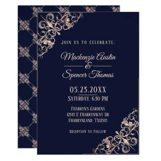 Navy Blue Wedding   Rose Gold Modern Art Deco   Card