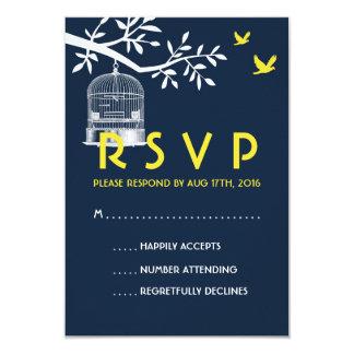 Navy Blue Wedding RSVP Card Vintage Bird Cage 9 Cm X 13 Cm Invitation Card