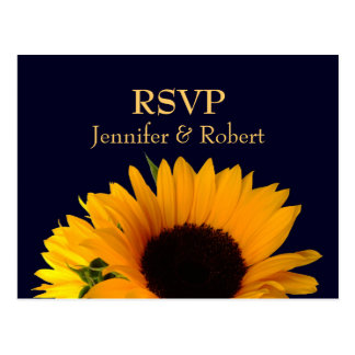 Navy Blue Wedding RSVP Postcard
