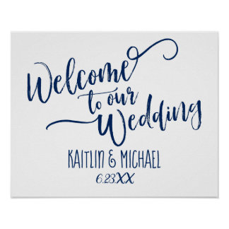 Navy Blue Wedding Welcome Sign - Brush Calligraphy