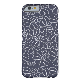 Navy Blue Whimsical Ikat Floral Doodle Pattern Barely There iPhone 6 Case
