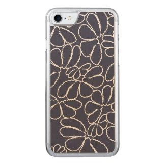 Navy Blue Whimsical Ikat Floral Doodle Pattern Carved iPhone 8/7 Case